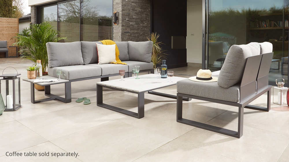 Garden lounging set with modular sofa