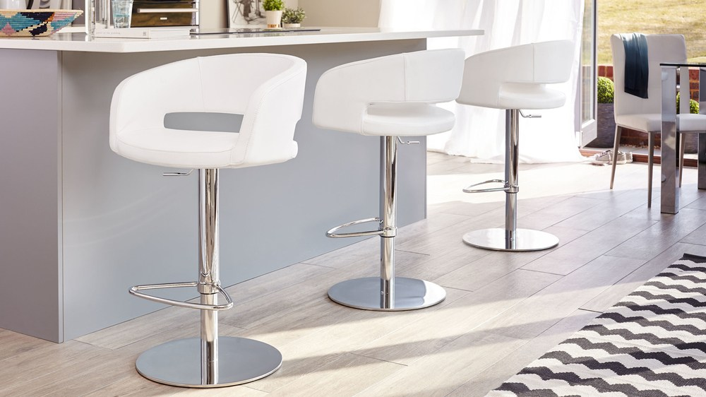 Contemporary White Gas Lift Bar Stools