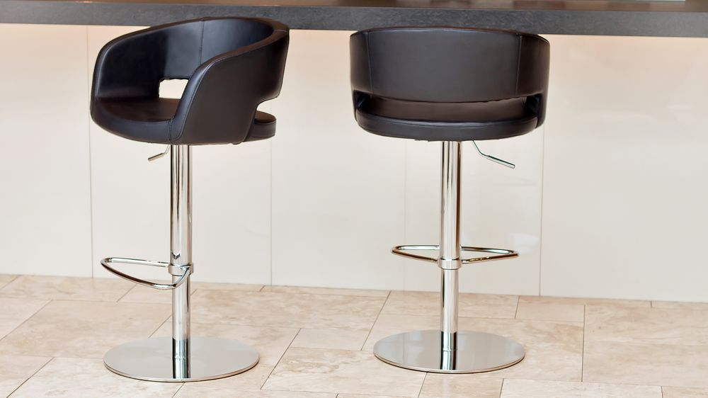 Black and Chrome Adjustable Height Bar Stools