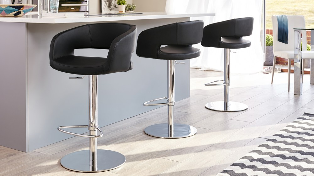 Curved Modern Black Or White Faux Leather Bar Stool