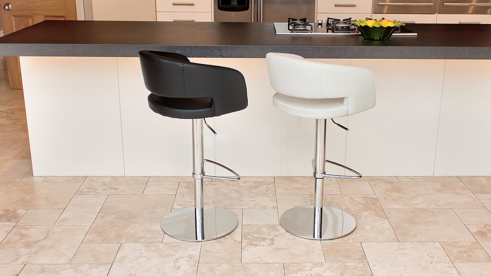 Modern Black and White Bar Stools with a Chrome Pedestal Base
