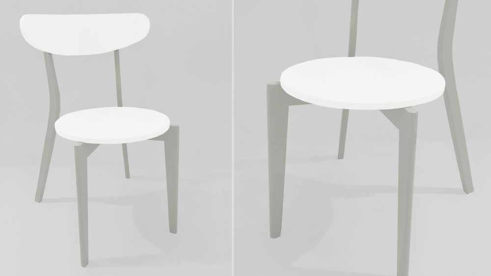 Modern White and Grey Dining Chair