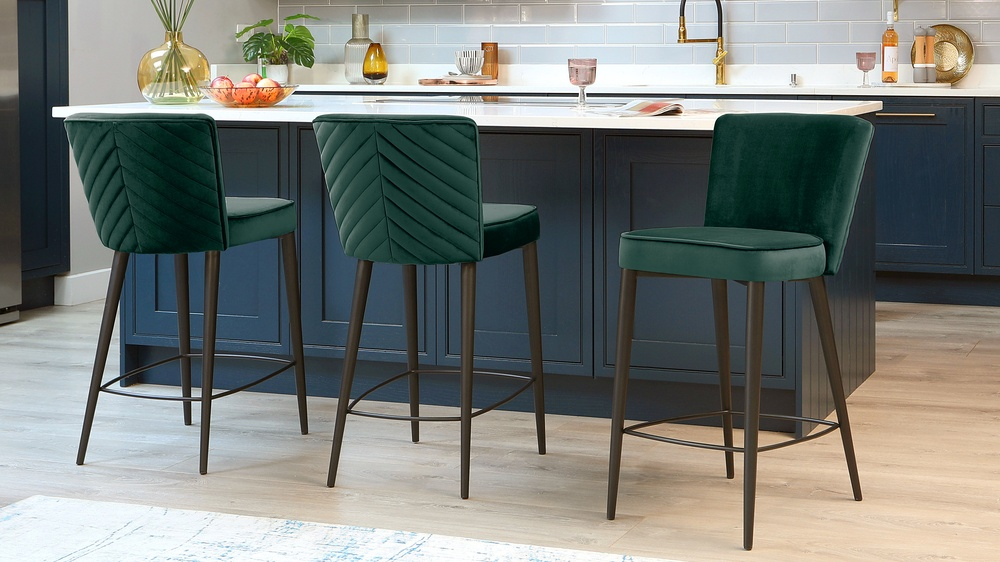Serena Dark Green Velvet Bar Stool