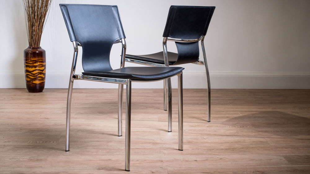 Serroni trendy chrome dining chair modern black or white for Contemporary black dining chairs