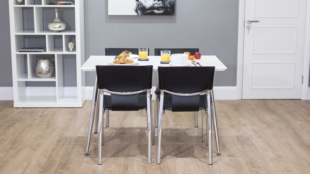 Serroni trendy chrome dining chair modern black or white for Trendy dining sets