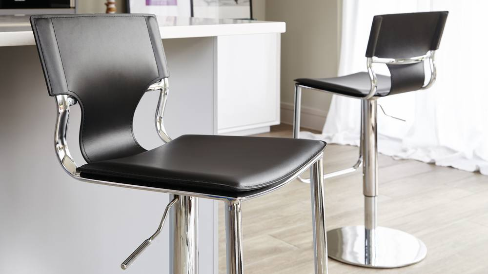 Stylish Black and Chrome Gas Lift Bar Stools