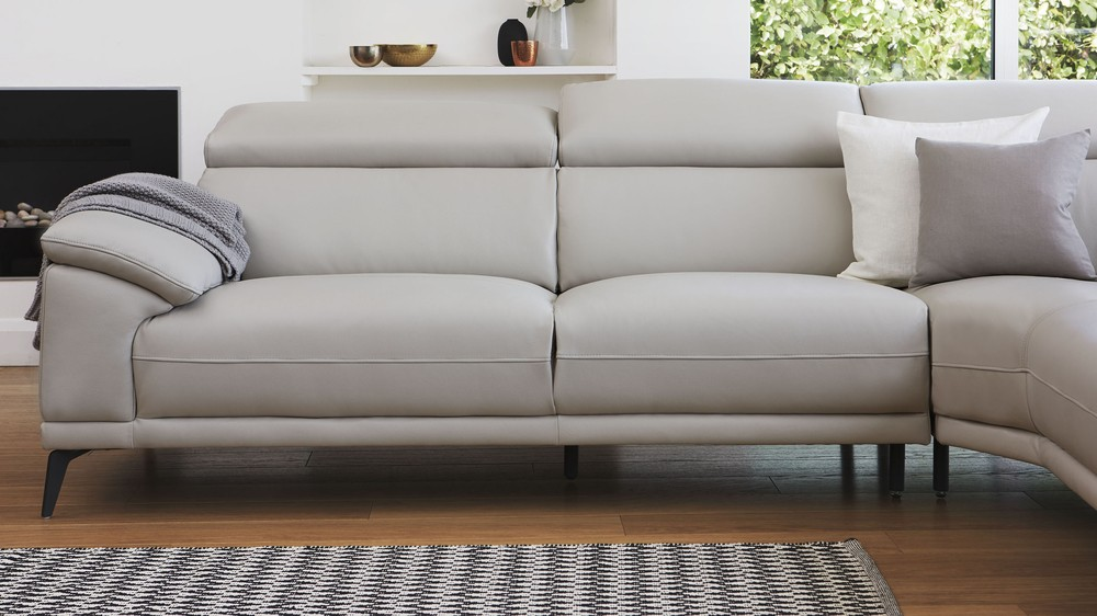 Right Hand Modern Leather Corner Sofa Living Room Uk