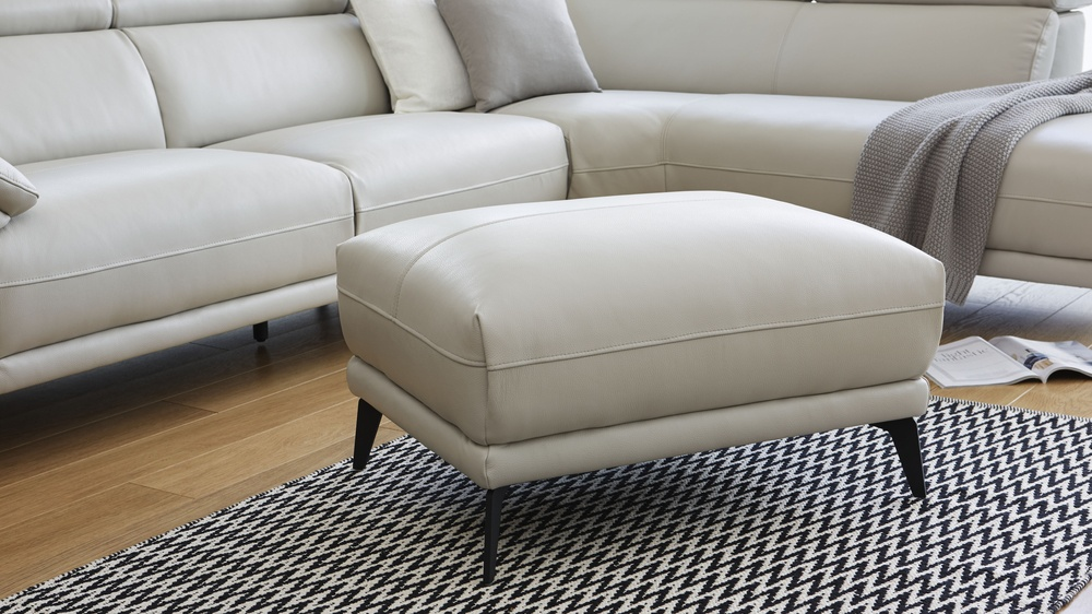 Modern leather footstool