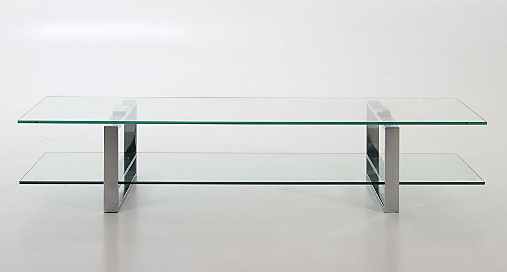 Modern Stylish Clear Glass and Chrome TV Table : TV Stand with Loop Legs