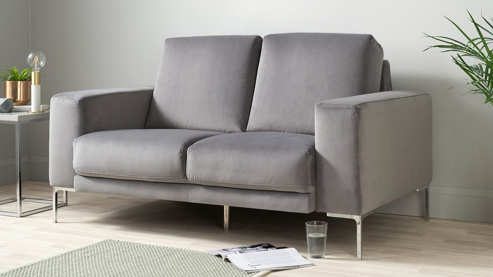 2 seater velvet and chrome dark grey sofa