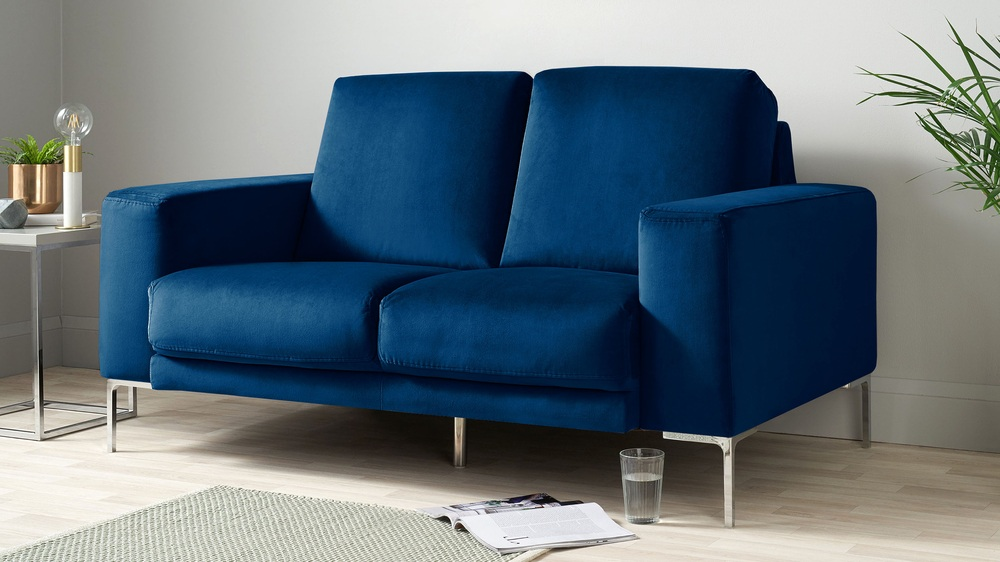 Dark blue velvet small sofa