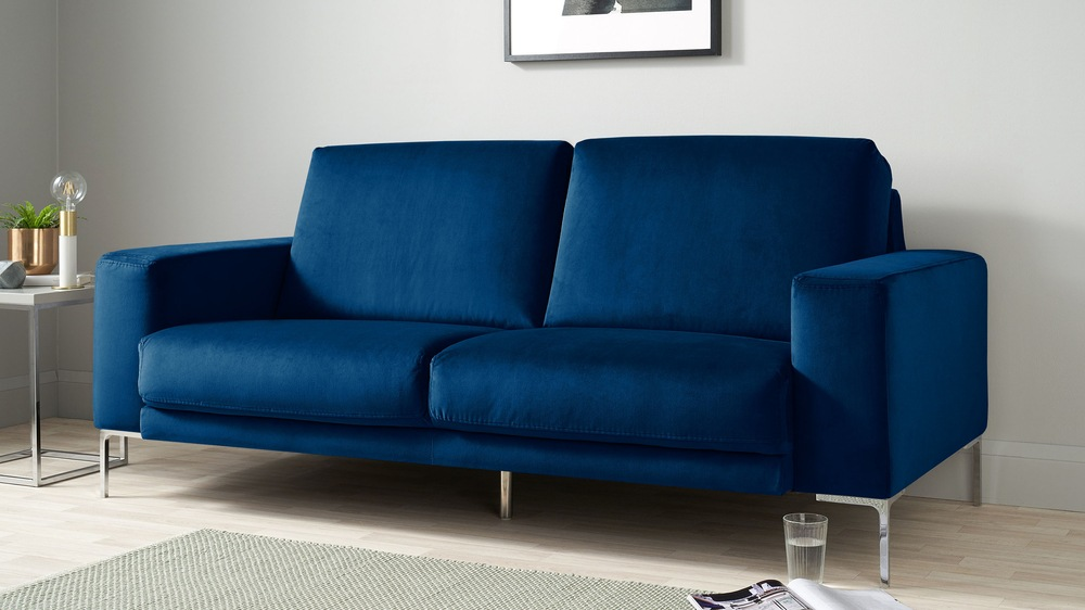 Buy large blue velvet sofa
