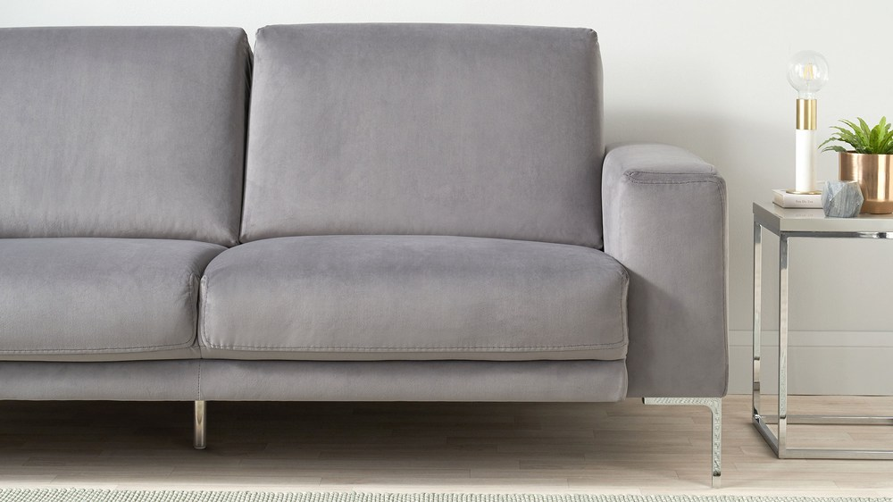 3 seater velvet grey sofa