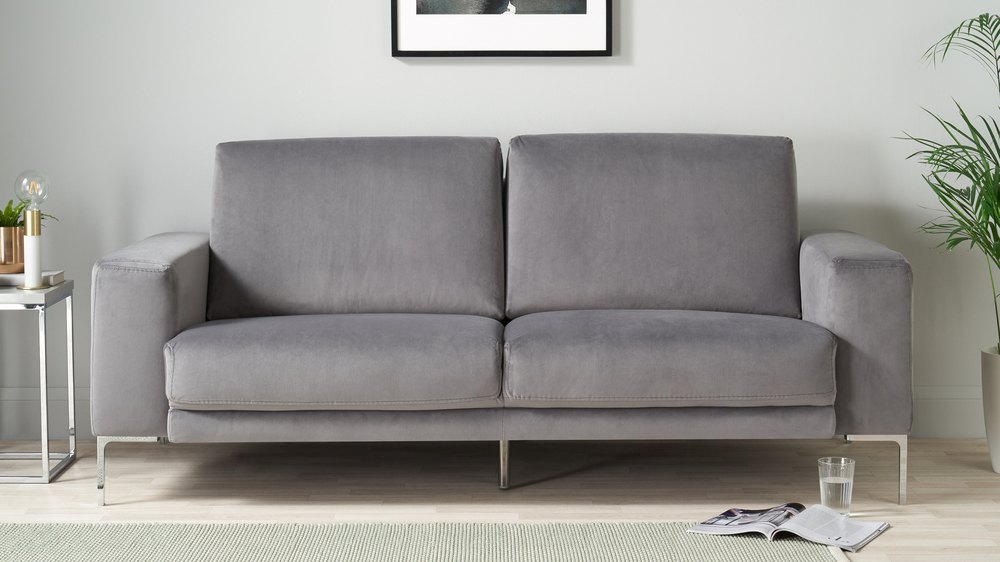 Dark grey velvet sofa
