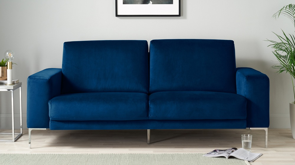 Buy large blue velvet sofa with chrome legs