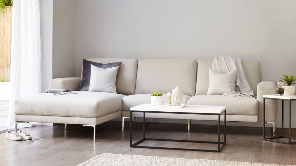 Left hand fabric sofa with chaise lounge