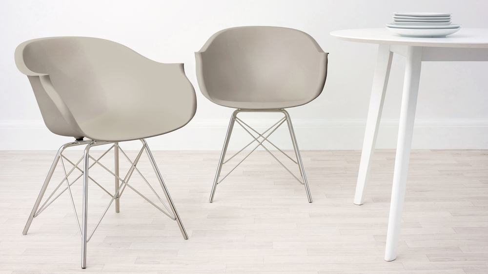 Taupe Grey Modern Dining Armchair
