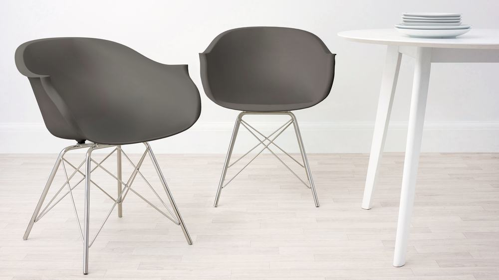 Taupe Grey and Wired Leg Dining Armchair