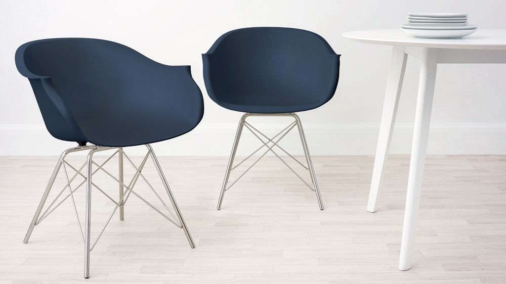 Blue Modern Dining Amrchair