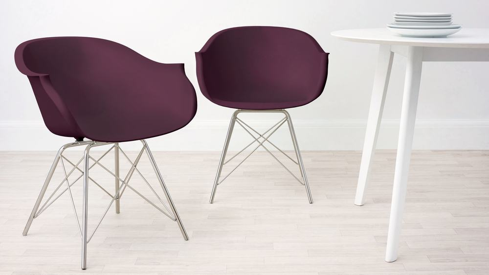 Mulberry Purple and Wired Dining Armchair