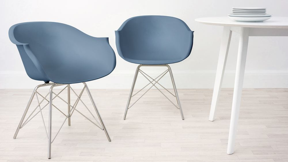 Steel Blue Comfortable Dining Armchair