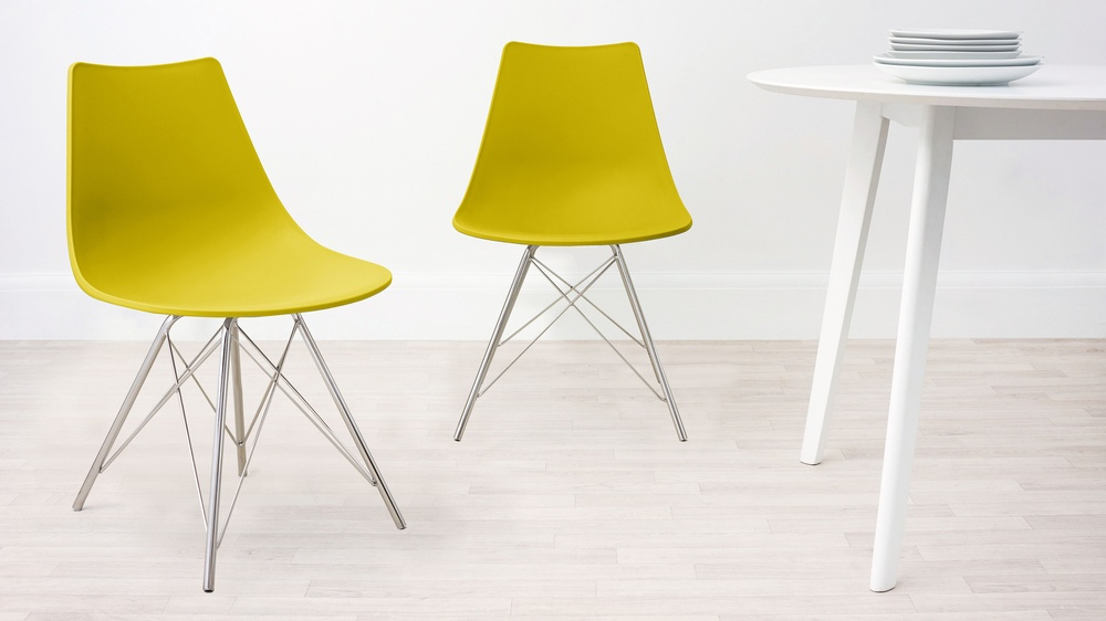 Mustard Yellow and Wired Dining Chair