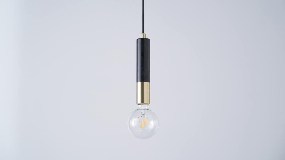 Marble and brass pendant lights