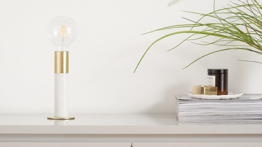 White marble and brass table lamp