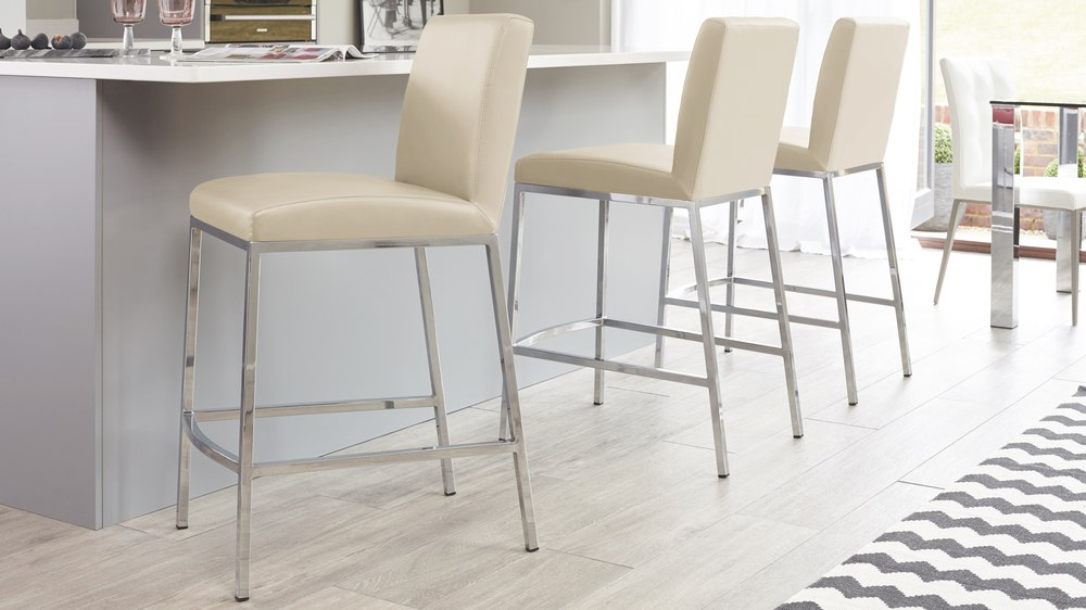 Modern Beige and Chrome Bar Stool