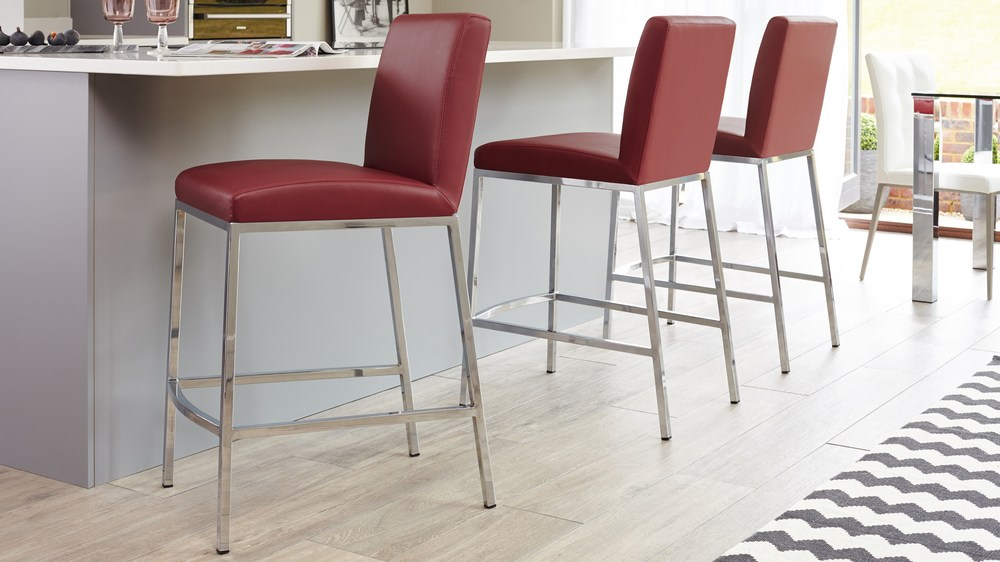 Chrome Based Bar Stool with Red Set