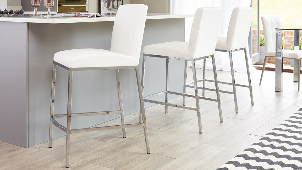 Chrome Base Bar Stools with a Footrest