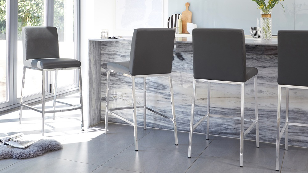 Fixed Height Chrome Bar Stools and Grey Seat
