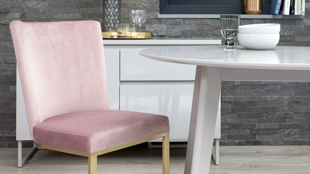 Velvet dining chairs with matt grey dining table