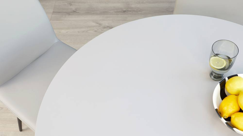 Round grey dining table