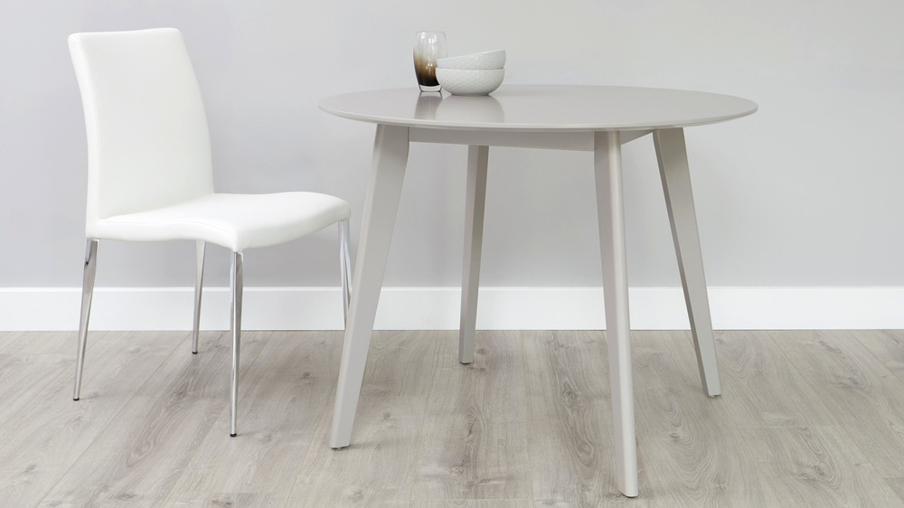 Terni small round matt grey dining table