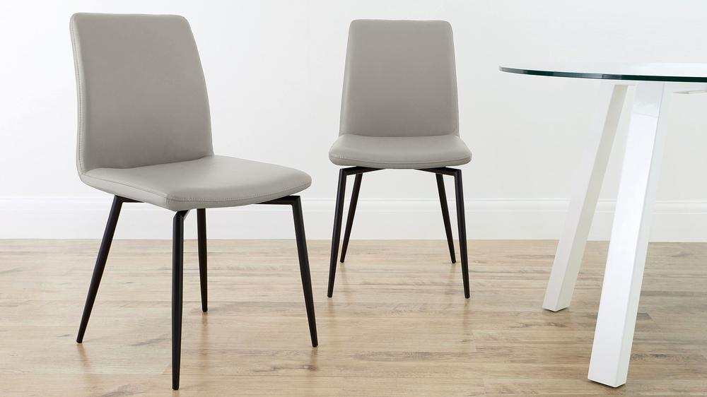 Buy light grey leather dining chairs