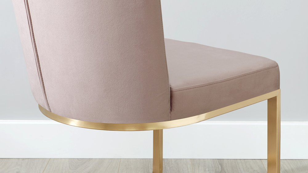 pink velvet and brass chair