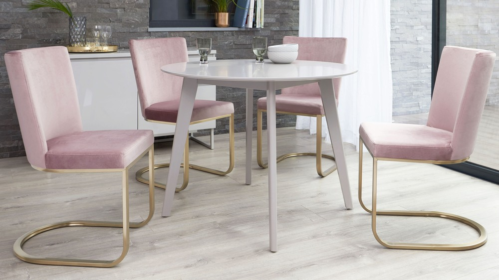 velvet and brass dining set