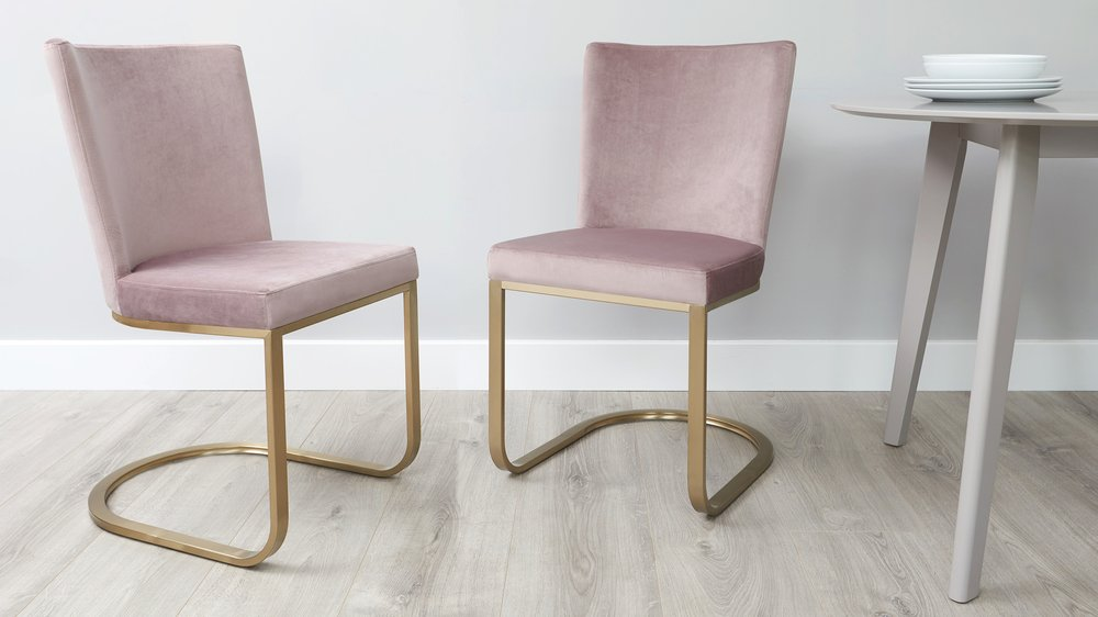 Blush velvet and brushed brass dining chairs