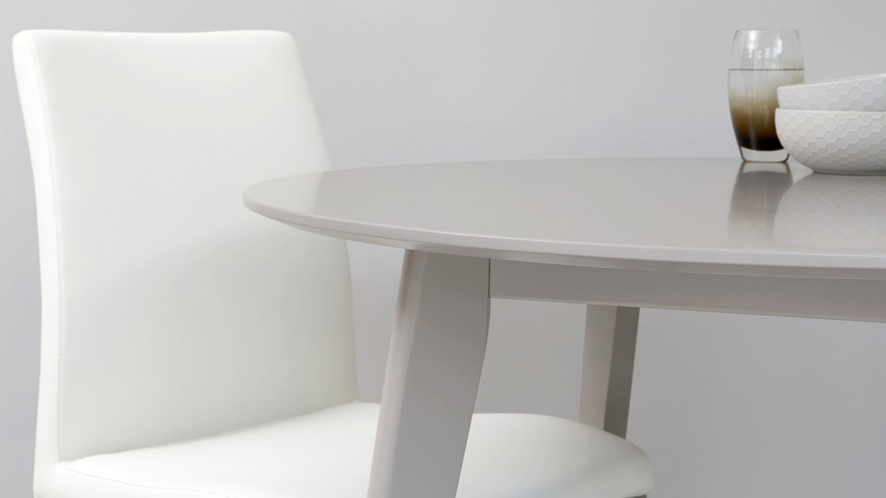 Buy matt grey round dining table with velvet dining chairs