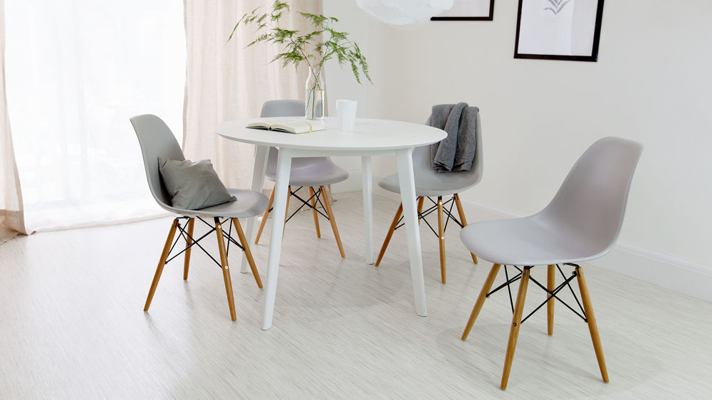 Round white dining table and eames dining chair set uk for Dining room ideas eames