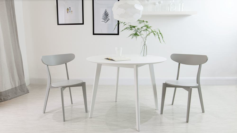 Modern Grey and White Round Dining Set