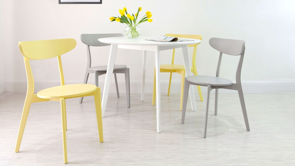 Round White and Colourful Dining Set