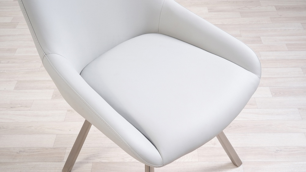 Comfortable white leather chairs