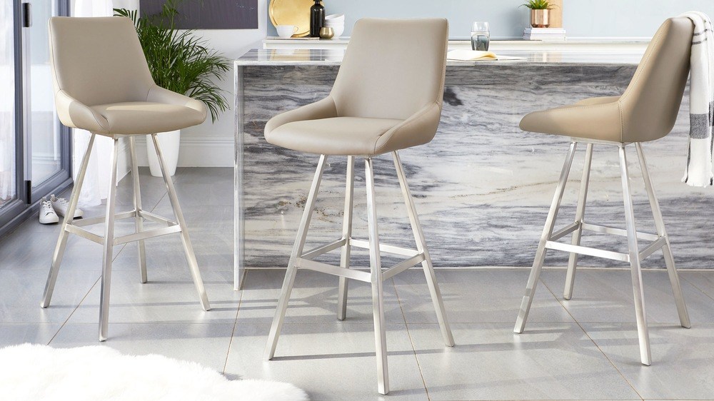 Mushroom taupe and stainless steel bar stools