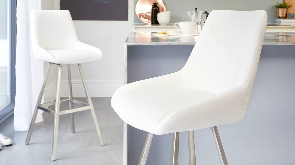 White and brushed stainless steel bar stools