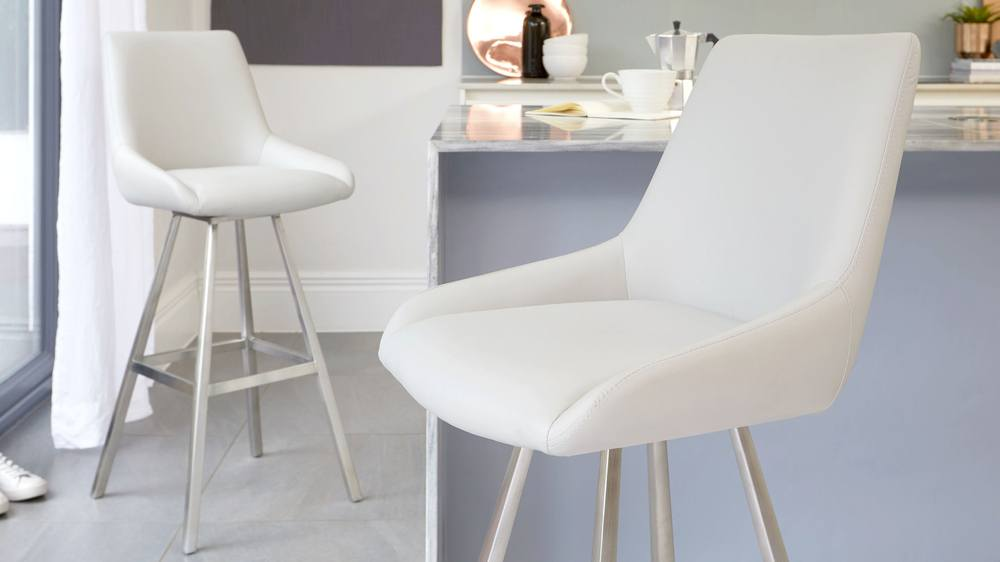 Light grey coloured bar stools