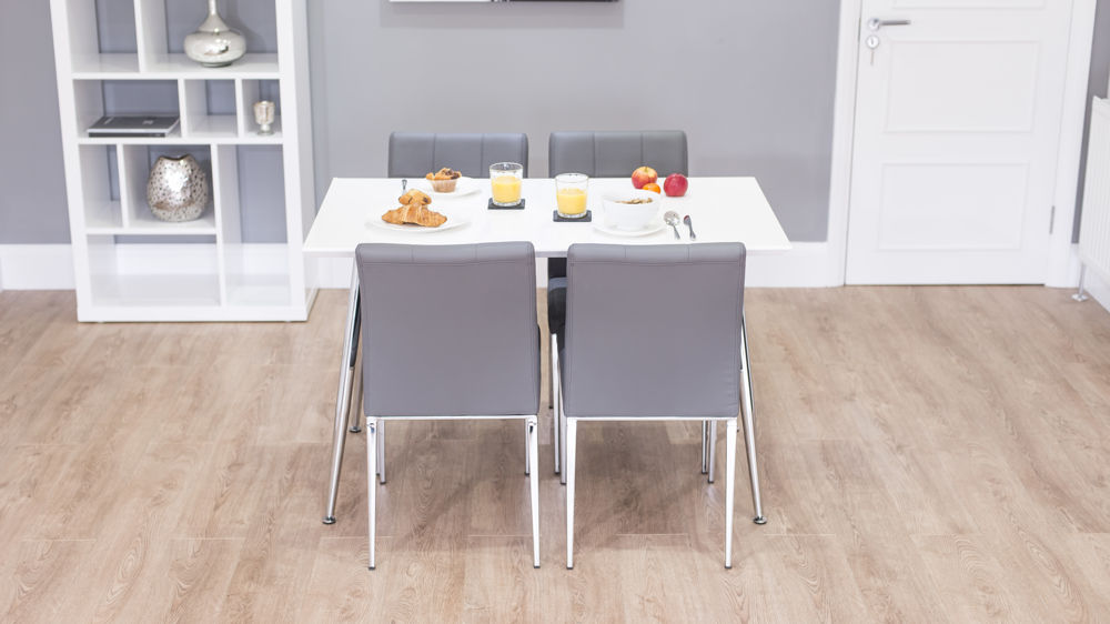 D313 Modern Dining Room Set In White Lacquer Finish: Stylish White Gloss 4 Seater Dining Set