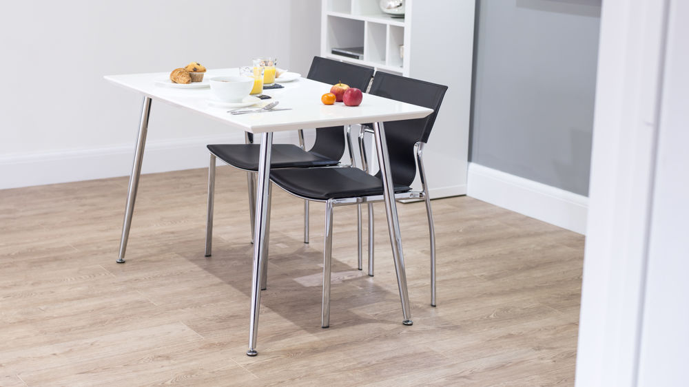 Funky Small White Gloss Dining Set Seats 4 White Or