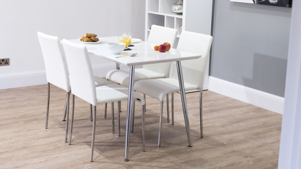 White Gloss Dining Table Kitchen Slanted Chrome Legs UK : tirano white gloss dining table 9 from www.danetti.com size 1000 x 562 jpeg 62kB